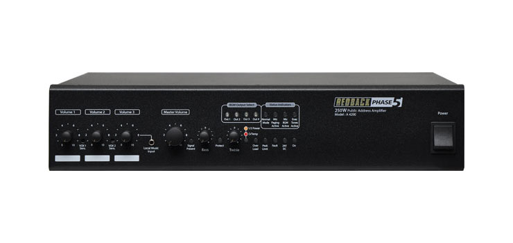 A4280 Public Address (PA) Mixer Amplifier 250W 100V 4 Zone