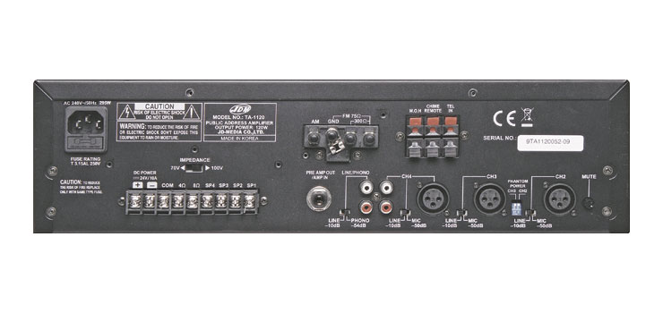 A4320 PA Mixer Amplifier 4 Zone 60W