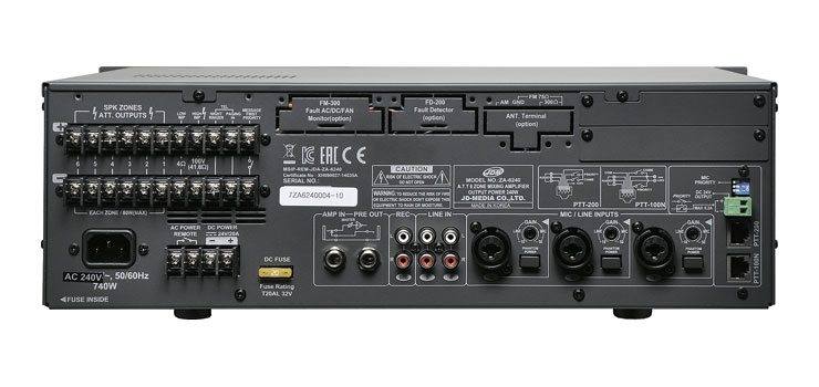A4332 PA Mixer Amplifier 6 Zone 240W With Attenuators
