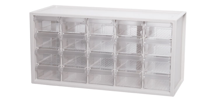 H0237 20 Way Parts Storage Drawers Transparent