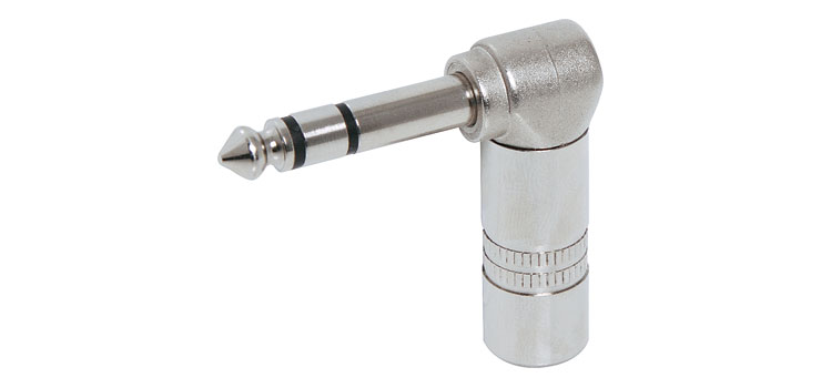 P0049 6.35mm 90 Degree Stereo Metal Jack Plug
