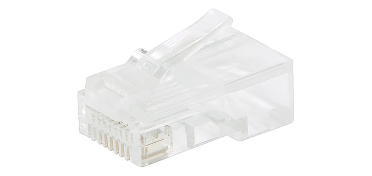 P1386A 8P8C RJ45 Modular Plug Cat5e Through Hole (Suit Solid Cable)