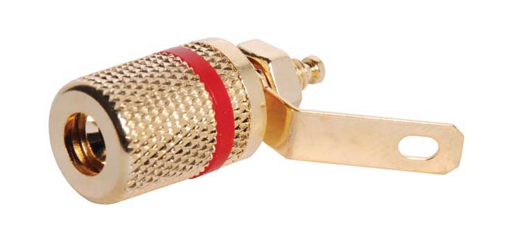 P2000 Red Gold Plated Low Profile Binding Post