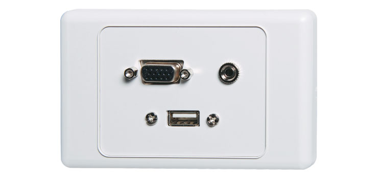 P5946 VGA 3.5mm USB Type A Wallplate - with Fly Leads