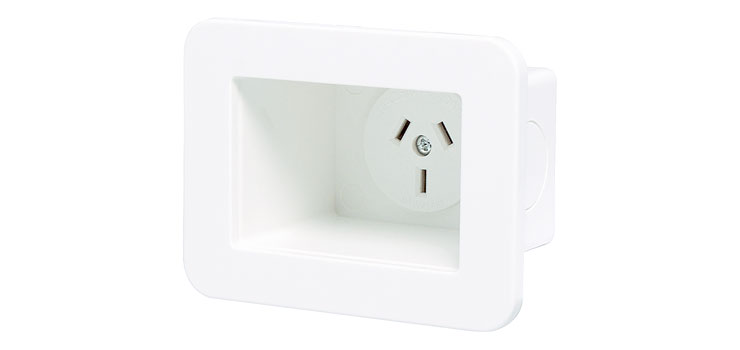 P8058 Wallplate Recess Box with 240V Mains GPO