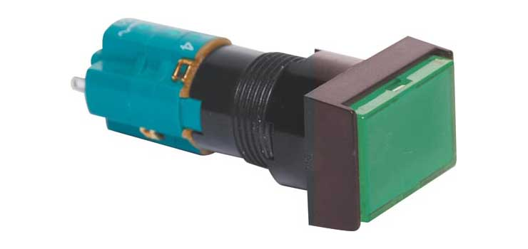 S1722 DPST Alt. Green Illuminated Solder Tail Pushbutton Switch
