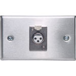 C0442 3 pin XLR Horizontal Steel Microphone Wallplate