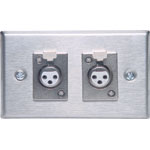 C0447 3 pin XLR Dual Horizontal Steel Microphone Wallplate