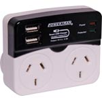 M8894 High Current Dual USB Mains Surge Double Adapter