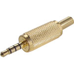 P0038 3.5mm Stereo TRRS Gold Metal Jack Plug