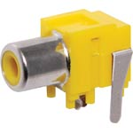 P0146A Yellow PCB Mount Switched RCA Socket