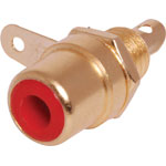 P0152 Red RCA Socket Chassis Gold