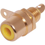 P0154 Yellow RCA Socket Chassis Gold