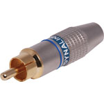 P0248 Blue 8mm Pro Metal Gold RCA Line Plug