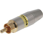 P0249 Yellow 6mm Pro Metal Gold RCA Line Plug