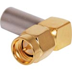 P0419A Crimp On Right Angle RG58U Gold Plated Male Plug SMA