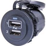 P0677 Dual USB Panel Mount Weatherproof 2.1A Charging Socket