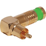 P1265 Green RG59 90 Deg. Compression Crimp RCA