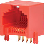 P1429 8P8C RJ45 Modular Socket Low Profile PCB Mount Red