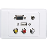 P5956 VGA 3.5mm USB A and RCA Wallplate Dual Cover Flyleads
