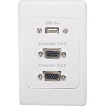 P6867 2 x VGA USB Output Flylead Connection Dual Cover Wallplate