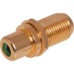 PE0252 Green RCA to F type Gold Chassis Mount Connector