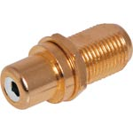 PE0255 White RCA to F type Gold Chassis Mount Connector