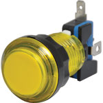 S0913 Yellow Arcade Style Momentary LED Illuminated Switch
