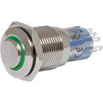 S0931 DPDT Momentary LED Green Solder Tail Pushbutton Switch