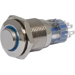 S0933 DPDT Momentary LED Blue Solder Tail Pushbutton Switch