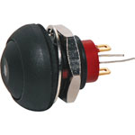 S0966 SPST IP67 Rated Mom. Black LED Pushbutton Switch