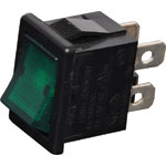 S3216 DPST Green Illuminated Mini Rocker Switch