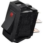 S3226 SPST Heavy Duty Red LED Dot Rocker Switch